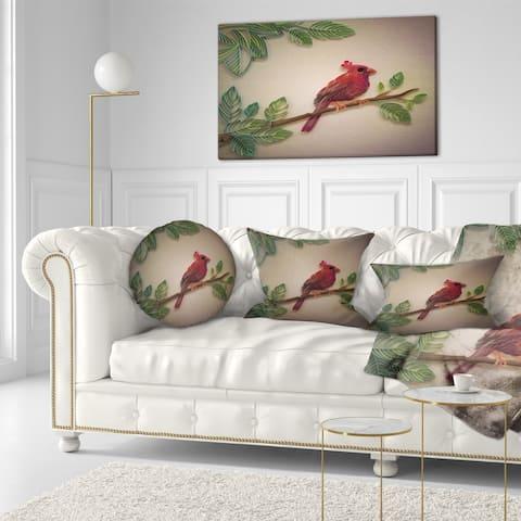 Designart 'Red Paper Quilling of Cardinal Bird' Floral Throw Pillow
