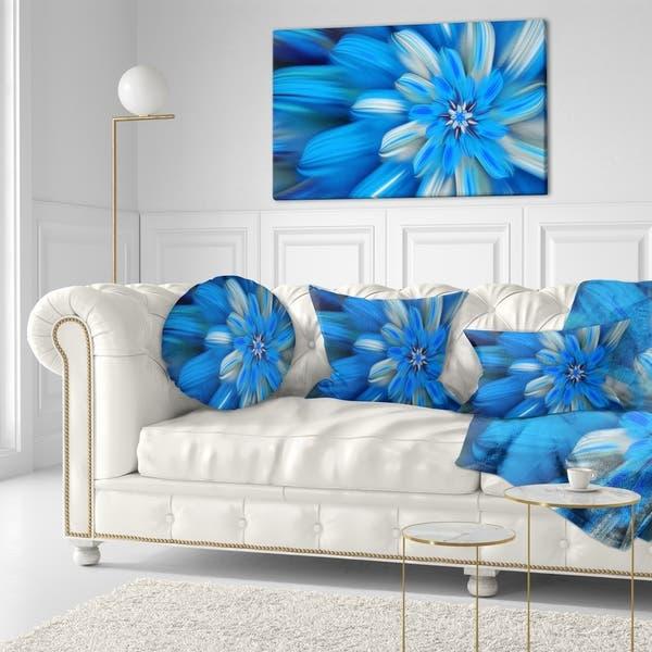 Designart Exotic Dance Of Blue Flower Petals Floral Throw Pillow On Sale Overstock 20953053