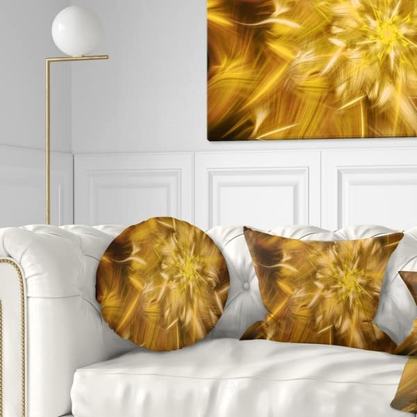 Designart Exotic Dance Of Golden Flower Petals Floral Throw Pillow On Sale Overstock 20953069