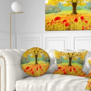 Designart 'Beautiful Autumn Yellow Tree' Floral Throw Pillow