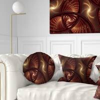 Designart 'Brown Symmetrical Fractal Pattern' Floral Throw Pillow
