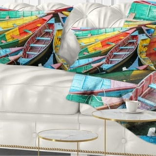 Designart 'Rowing Boats on the Lake in Pokhara' Boat Throw Pillow