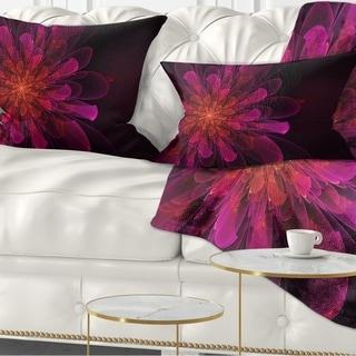 Designart 'Large Pink Alien Fractal Flower' Floral Throw Pillow