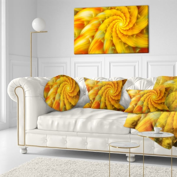 Designart 'Rotating Yellow Fractal Flower' Floral Throw Pillow