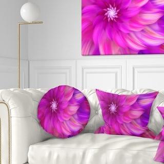 Designart 'Massive Pink Fractal Flower' Floral Throw Pillow
