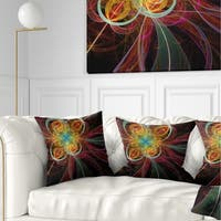 Designart 'Colorful Red Fractal Flower' Abstract Throw Pillow