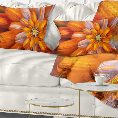 Designart 'Massive Orange Fractal Flower' Floral Throw Pillow