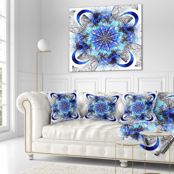 Designart Symmetrical Blue Fractal Flower Abstract Throw Pillow On Sale Overstock 20953398