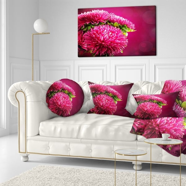Designart 'Pink Flowers of Asters on Red' Flowers Throw Pillowwork