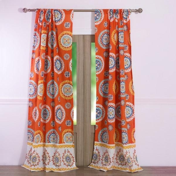 Shop Barefoot Bungalow Rozario Tangerine Curtain Panel
