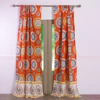 Barefoot Bungalow Rozario Tangerine Curtain Panel Pair (Set of Two Panels and Two Tiebacks)