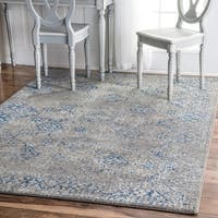 "nuLOOM Grey Traditional Distressed Area Rug - 6'7"" x 9'"