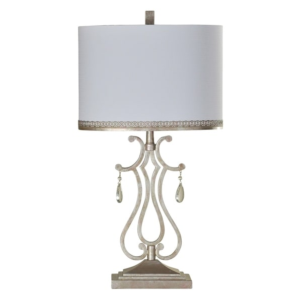 StyleCraft Crystal Crest Table Lamp - White Hardback Fabric Shade