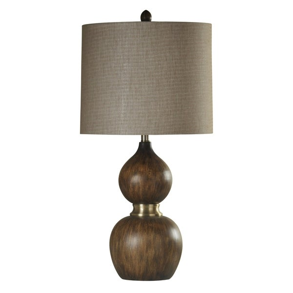 Mizoram Natural Wood and Antique Brass Table Lamp - Beige Hardback Fabric Shade