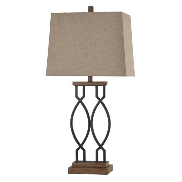 Black Wood Steel Table Lamp - Beige Hardback Fabric Shade