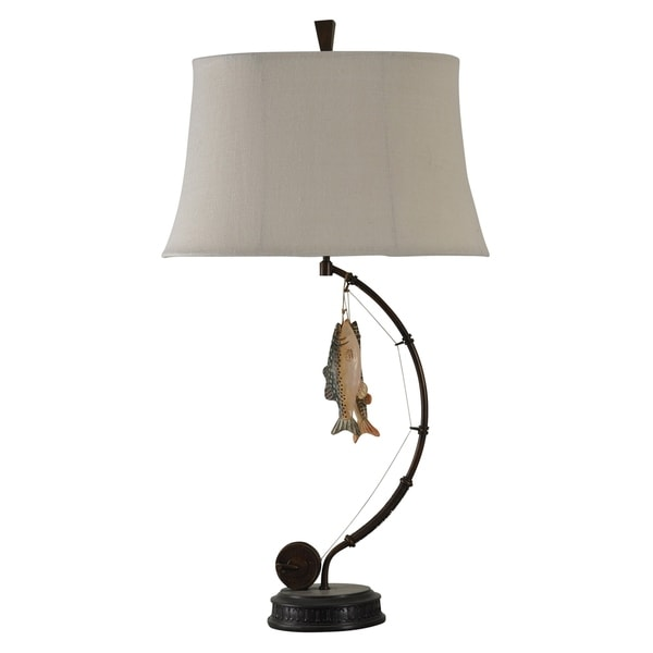 Fall River Dark Brown Table Lamp - Burlap Softback Fabric Shade