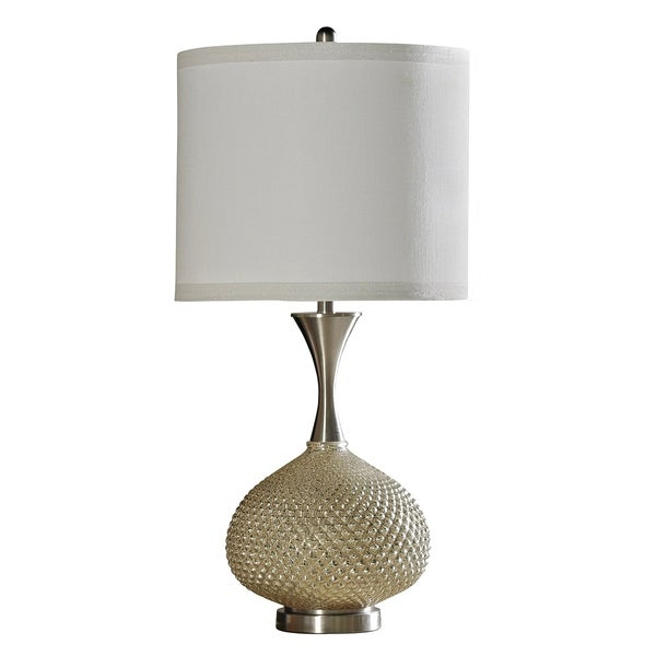 Yarra Gold and Brushed Stainless Steel Table Lamp - White Hardback Fabric Shade