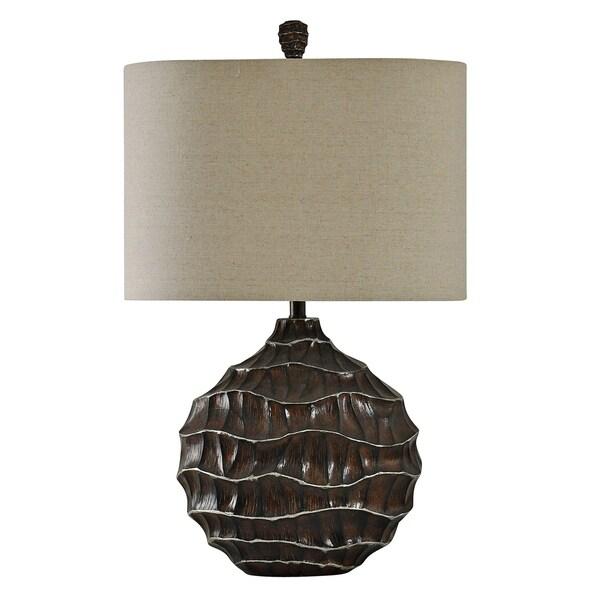 StyleCraft Winthrop Brown With Kashi Silver Table Lamp - Beige Hardback Fabric Shade