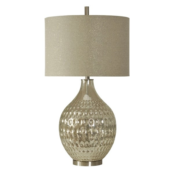 Northbay Mercury Glass Table Lamp - Sparkle Hardback Fabric Shade