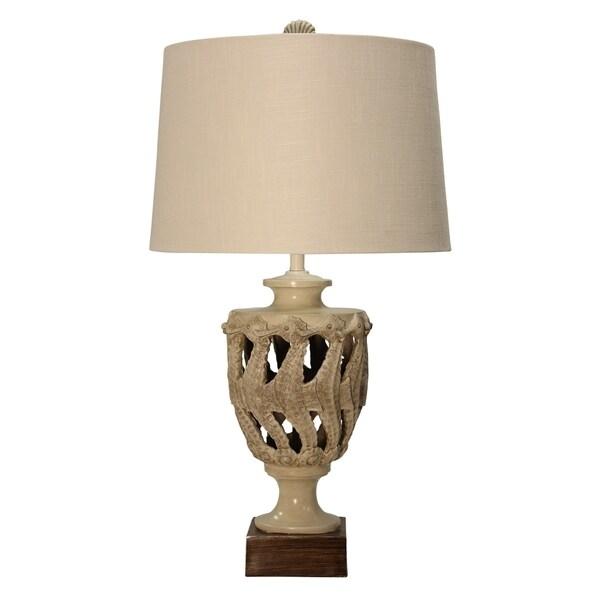 StyleCraft Sand Shell Table Lamp - Beige Hardback Fabric Shade