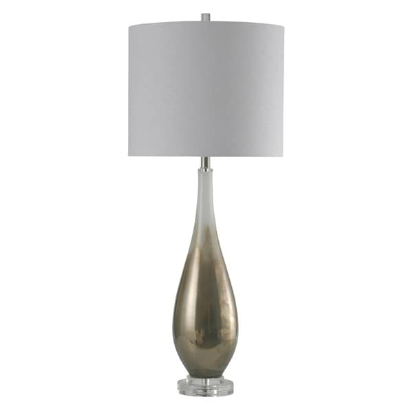 Movila Art Glass Table Lamp w/ Clear Acrylic Base - White Hardback Shade