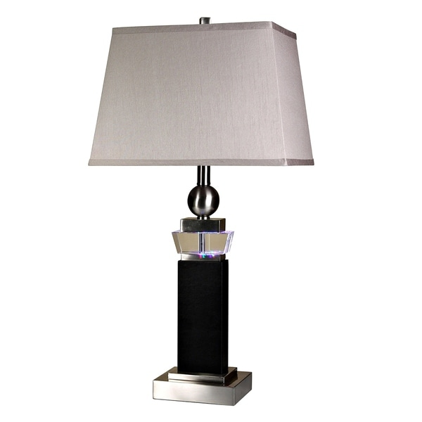 Brushed Steel Leather Table Lamp - Taupe Hardback Fabric Shade