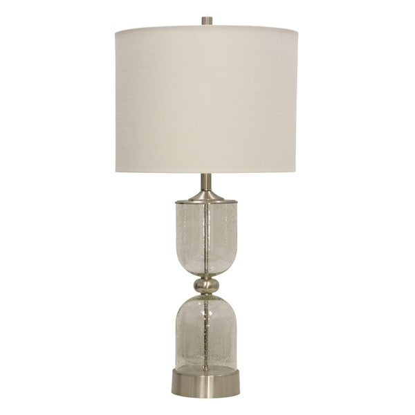 StyleCraft Lewiston Seeded Glass and Brushed Steel Table Lamp - White Hardback Fabric Shade