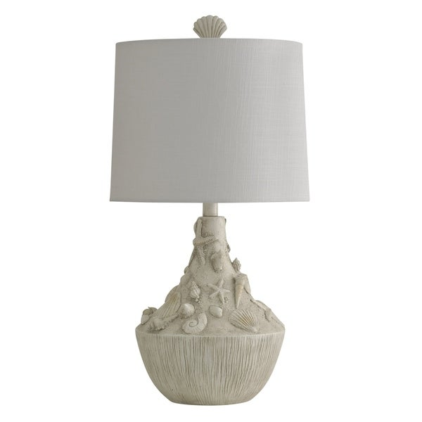 William Magnum Emerald Isle White Sandstone Table Lamp - White Hardback Fabric Shade
