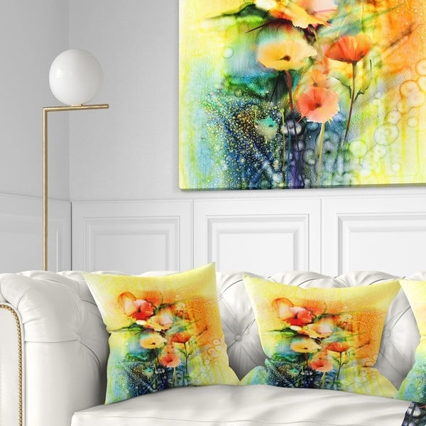 Designart 'Colored Watercolor Flowers on Yellow' Floral Throw Pillow
