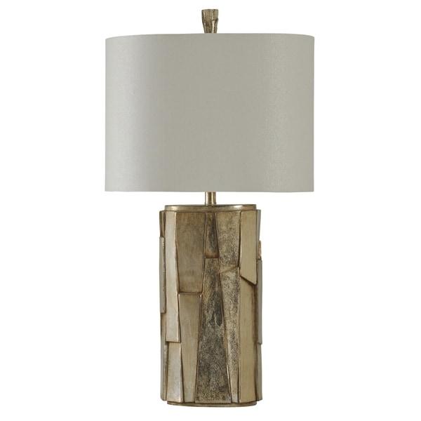 Laslo Silver Table Lamp - White Hardback Fabric Shade