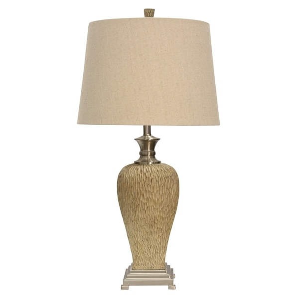 Gallatin Beige and Brushed Steel Table Lamp - Cream Hardback Fabric Shade