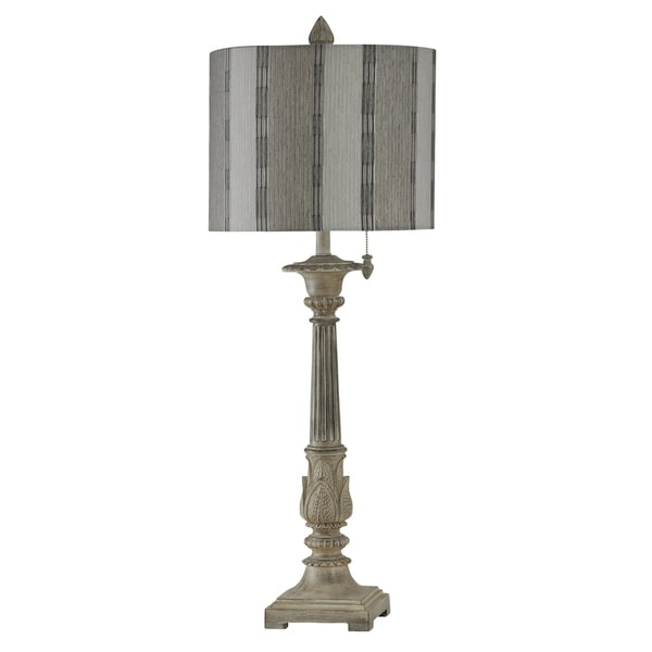 StyleCraft Bokava Off-White Table Lamp - Grey Designer Print Hardback Fabric Shade