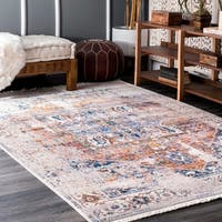 nuLOOM Ivory Traditional Fancy Medallion Border Rug - 9' x 12'