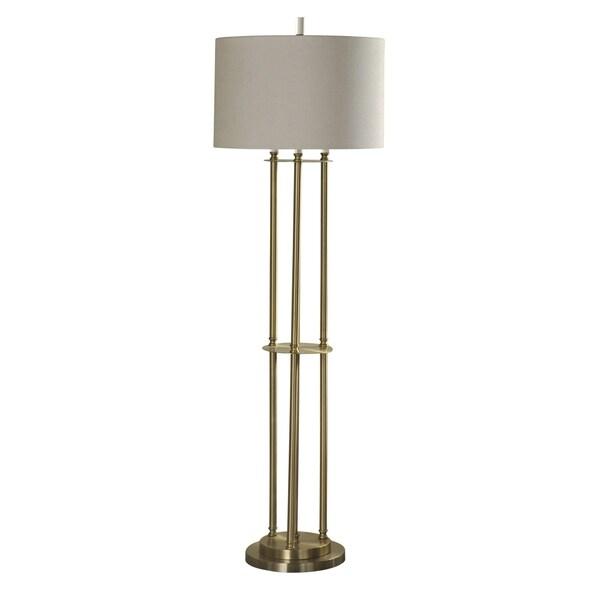 Brass Floor Lamp - Taupe Hardback Fabric Shade