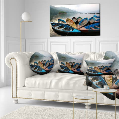 Designart 'Beautiful Boats in Phewa Lake' Boat Throw Pillow