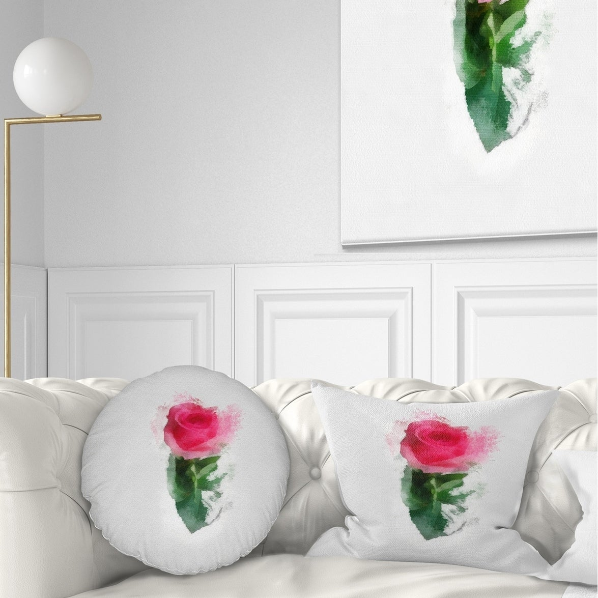 Designart Beautiful Rose With Leaves Drawing Floral Throw Pillow On Sale Overstock 20953661