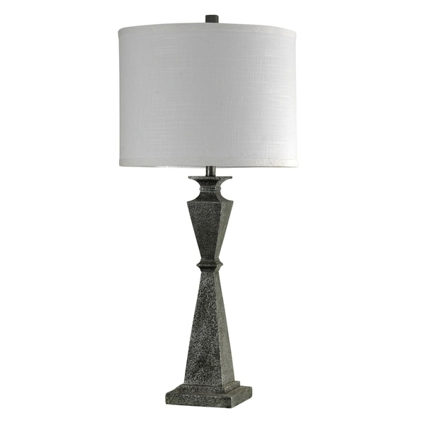 William Magnum Valley Forge Black Table Lamp - White Hardback Fabric Shade