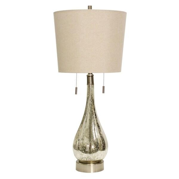 Fulda Mercury Table Lamp - Beige Hardback Fabric Shade