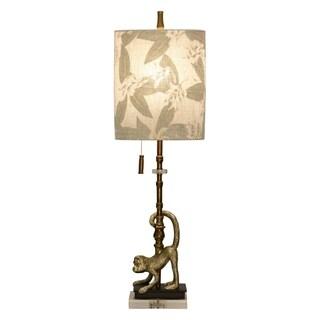 Lisarow Gold Accent Table Lamp - Designer Print Hardback Fabric Shade