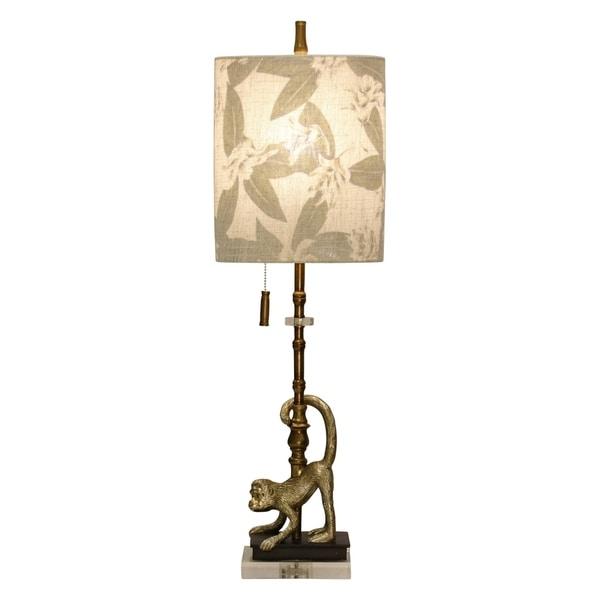 StyleCraft Lisarow Gold Accent Table Lamp - Designer Print Hardback Fabric Shade