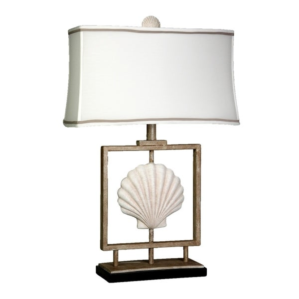 Sand Stone Table Lamp - White Fabric Shade