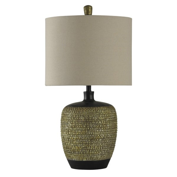 StyleCraft Gold And Black Table Lamp - White Hardback Fabric Shade