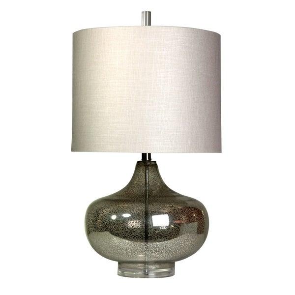 Antique Mercury Table Lamp - White Designer Print Hardback Fabric Shade