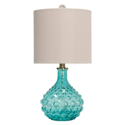 StyleCraft Blue Table Lamp - Off-White Hardback Fabric Shade