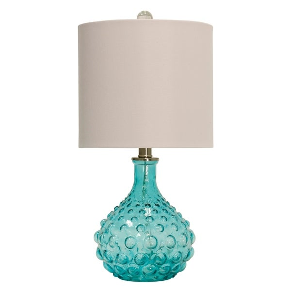 Blue Table Lamp - Off-White Hardback Fabric Shade