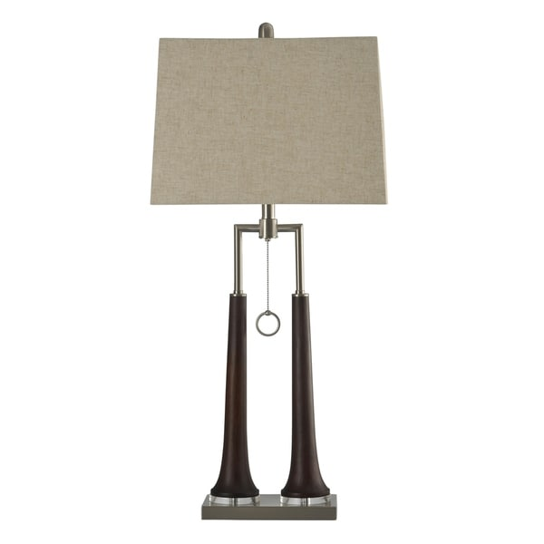 Eamon Contemporary Dark Brown and Brushed Steel Table Lamp - Beige Hardback Fabric Shade