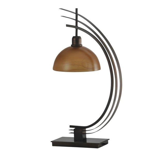 Bronze Accent Table Lamp - Amber Glass Shade