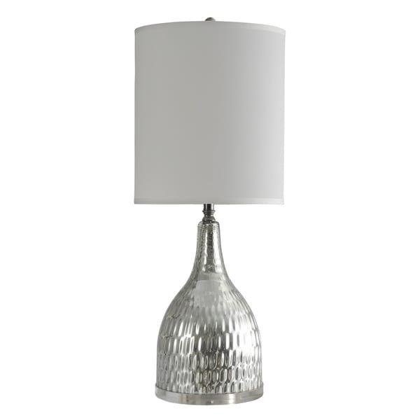StyleCraft Jane Seymour Silver Mercury Table Lamp - White Hardback Fabric Shade