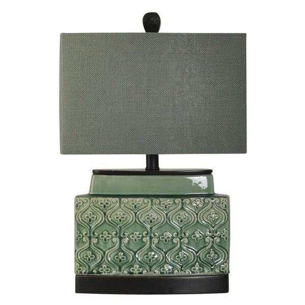 StyleCraft Springfield Accent Ceramic Green Glass Table Lamp - Grey Hardback Fabric Shade