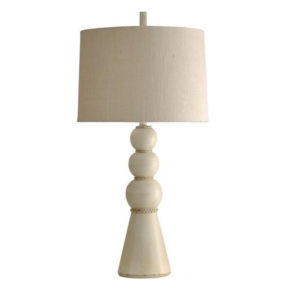 StyleCraft William Magnum Beaufort Off-White Table Lamp - White Hardback Fabric Shade